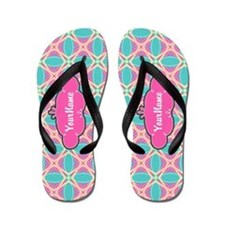 Girly Pink Teal Pattern Personalized Flip Flops