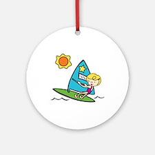 Windsurfing Girl Ornament (Round)