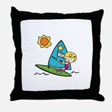 Windsurfing Girl Throw Pillow
