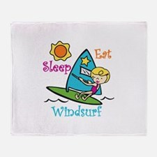 Eat Sleep Windsurf Throw Blanket