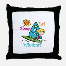 Eat Sleep Windsurf Throw Pillow
