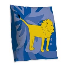 Lion Burlap Throw Pillow