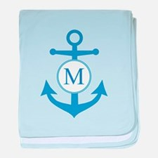 Anchor, Nautical Monogram baby blanket