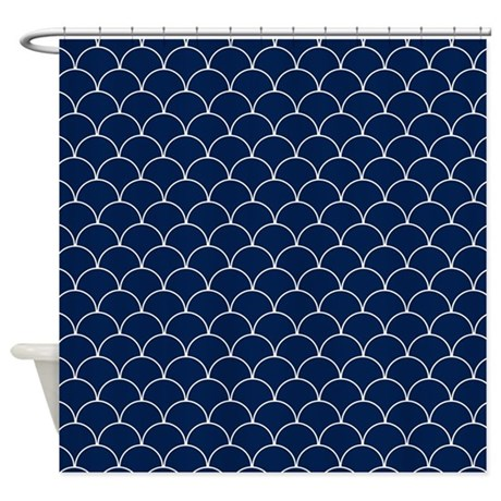Navy Blue And White Scallop Pattern Shower Curtain By