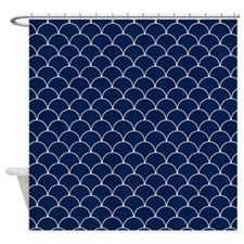 Navy Blue and White Scallop Pattern Shower Curtain