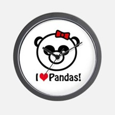 I Heart Pandas Wall Clock
