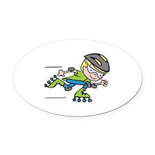 Rollerblading Boy Oval Car Magnet