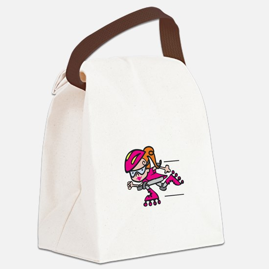 Rollerblading Girl Canvas Lunch Bag