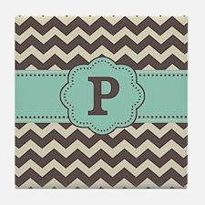 Brown Green Chevron Monogram Tile Coaster