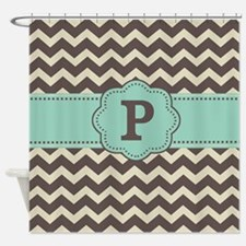 Brown Green Chevron Monogram Shower Curtain
