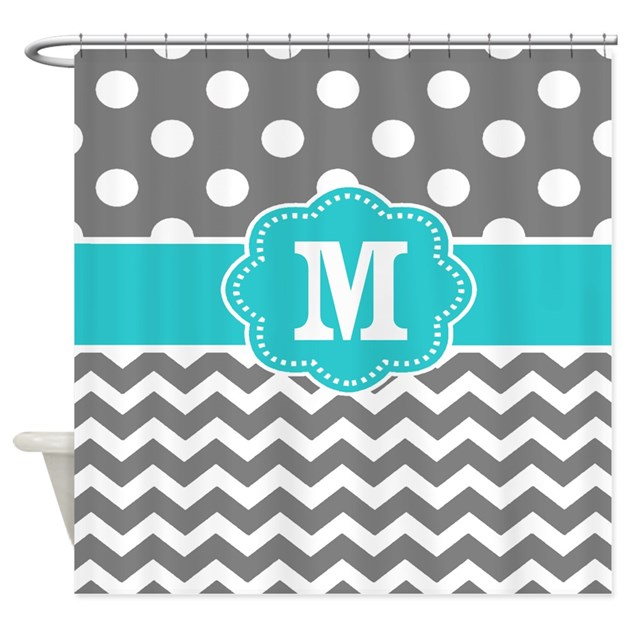 Gray Teal Dots Chevron Monogram Shower Curtain By CupcakesandSprinklesBirthda