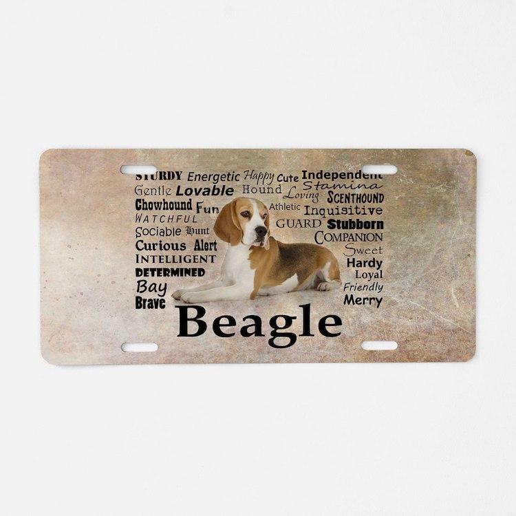 Cute Beagle Aluminum License Plate