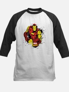Iron Man Paint Splatter Kids Baseball Jersey