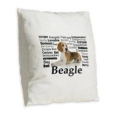 Beagle Traits Burlap Throw Pillow
