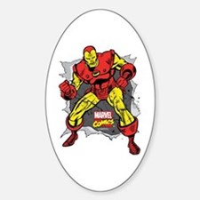 Iron Man Ripped Sticker (Oval)