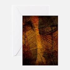 brown leaf print Greeting Cards