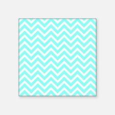 "light aqua and white chevro Square Sticker 3"" x 3"""