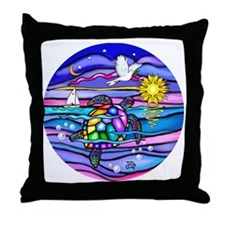 Cute Colorful turtle Throw Pillow