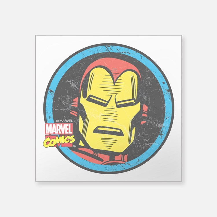 "Iron Man Face Square Sticker 3"" x 3"""
