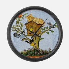 Cat and bird shower curtain Large Wall Clock