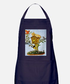 Cat and bird shower curtain Apron (dark)