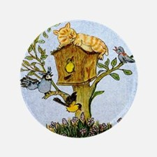 "Cat and bird shower curtain 3.5"" Button"