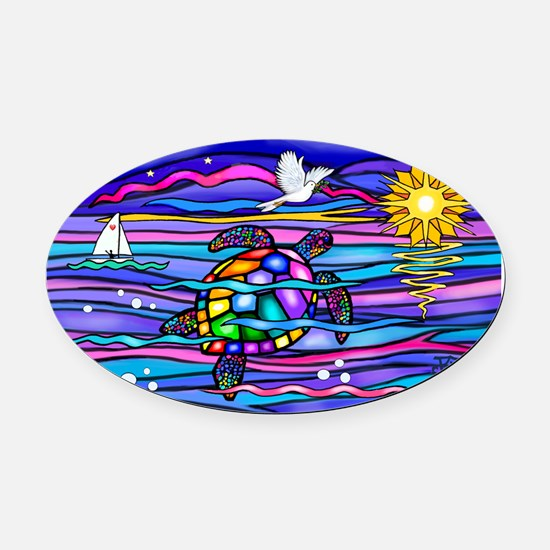 Cool Turtle Oval Car Magnet