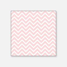 "flesh pink and white chevro Square Sticker 3"" x 3"""