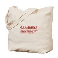 grammar-difference-shit-pre-red Tote Bag