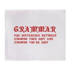 grammar-difference-shit-pre-red Throw Blanket