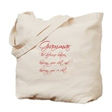 grammar-difference-shit-scr-red Tote Bag