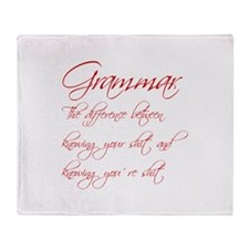 grammar-difference-shit-scr-red Throw Blanket