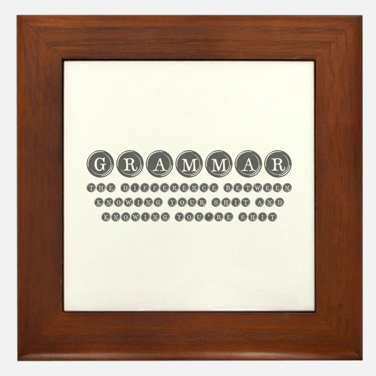 grammar-difference-shit-type-gray Framed Tile