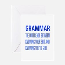 grammar-difference-shit-UNIV-BLUE Greeting Cards