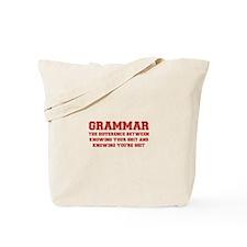 grammar-difference-shit-VAR-RED Tote Bag