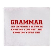 grammar-difference-shit-VAR-RED Throw Blanket