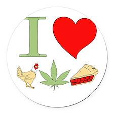I Love Chicken Pot Pie Round Car Magnet