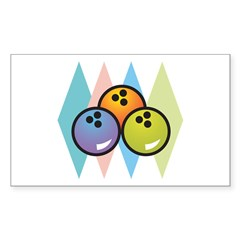 Retro Argyle Bowling Design Rectangle Sticker