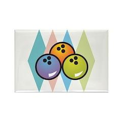 Retro Argyle Bowling Design Rectangle Magnet (100
