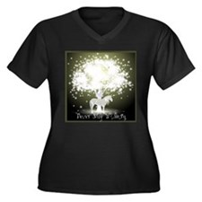 Never Stop W Women's Plus Size V-Neck Dark T-Shirt