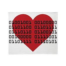 I Love You in Binary Code Throw Blanket