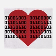 I Love You in Binary Code Throw Blanket