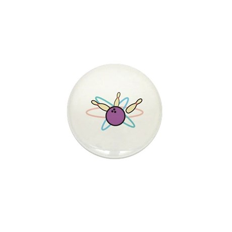 Retro Bowling Strike Design Mini Button (10 pack)