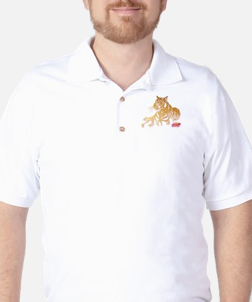 Gold Tiger and Pink Lilly Golf Shirt