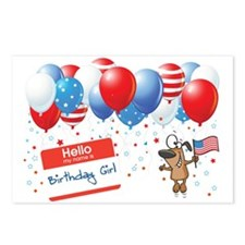 4th of JULY BIRTHDAY GIRL Postcards (Package of 8)