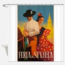Feria De Sevilla, Spain, Vintage Shower Curtain