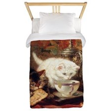 Cats and Tea, Vintage Art Twin Duvet
