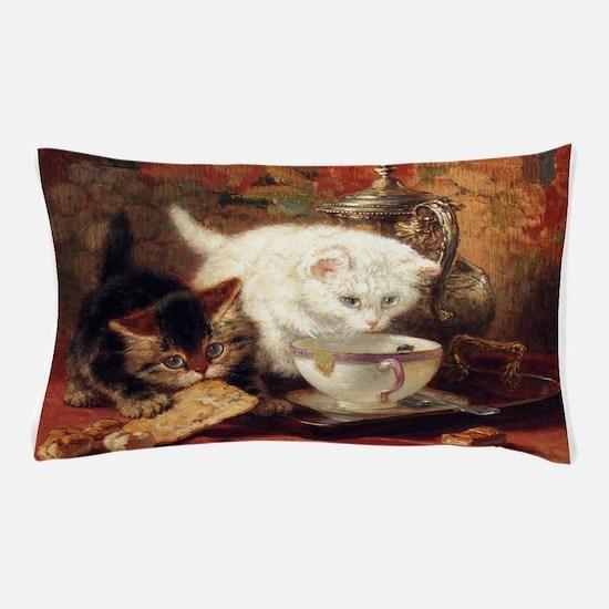 Cats and Tea, Vintage Art Pillow Case