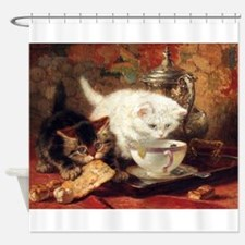 Cats And Tea, Vintage Art Shower Curtain