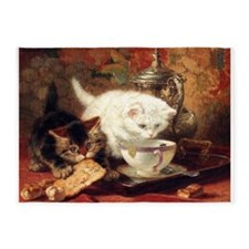 Cats and Tea, Vintage Art 5'x7'Area Rug
